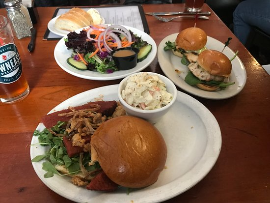 Willimantic, CT: Clockwise from top: Lebanon Greens, Chicken Sliders, Cola BBQ Brisket Brioche!