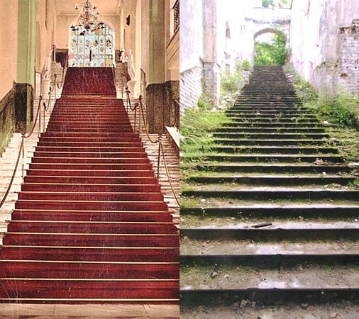 Gwrych Castle: The Famous Marble Staircase, Then On The Left, Now On The
