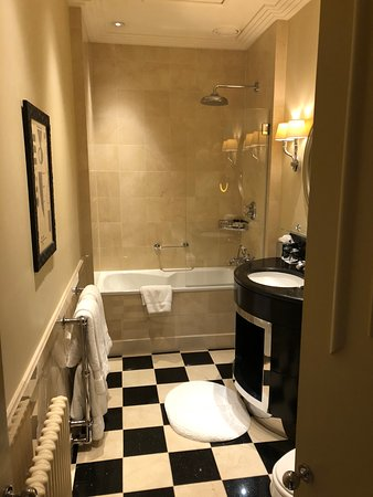 Tub/shower combo with hinged half glass door and large rainfall ...