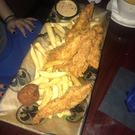 801 Royal: Chicken tenders and seafood Alfredo!