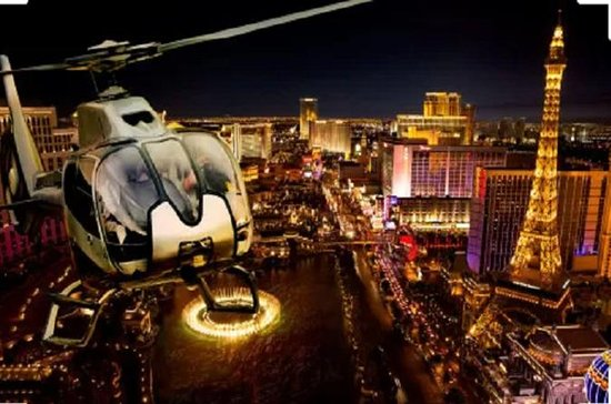 Vegas Night Out: Las Vegas Night Flight and Dinner for Two: Romantic Evening for Two: Helicopter Ride & Dinner