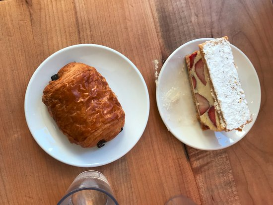 St. Honore Boulangerie: Pain Au Chocolat and Strawberry Millefeuille