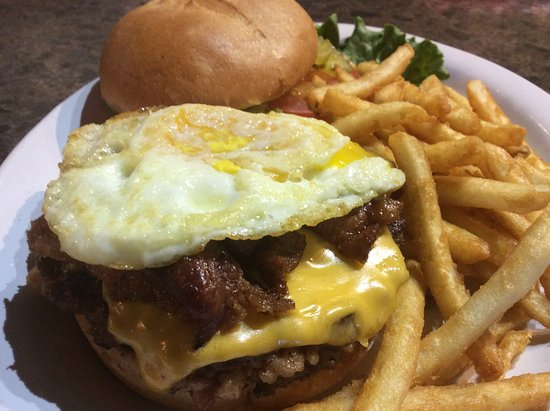 Elko, NV: We call this the heart attack burger...packed with protien and a punch!