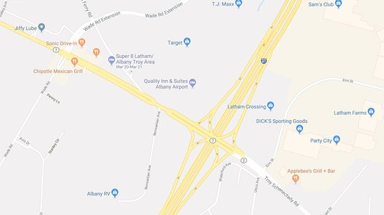 Latham, نيويورك: Quick map of Exit 6 on I-87