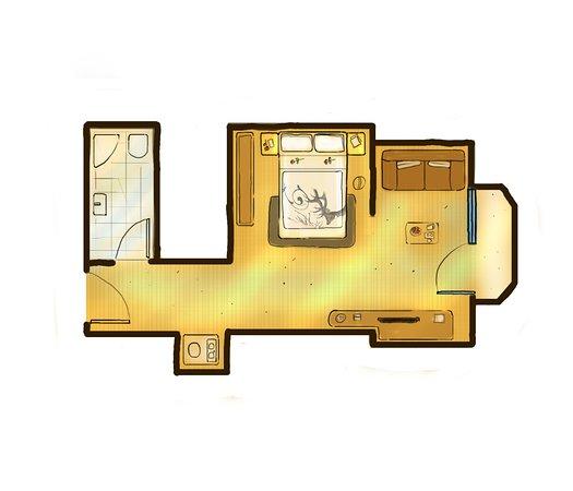 Hotel Central: Zimmerskizze 1-Raum-Appartement ca. 35m²