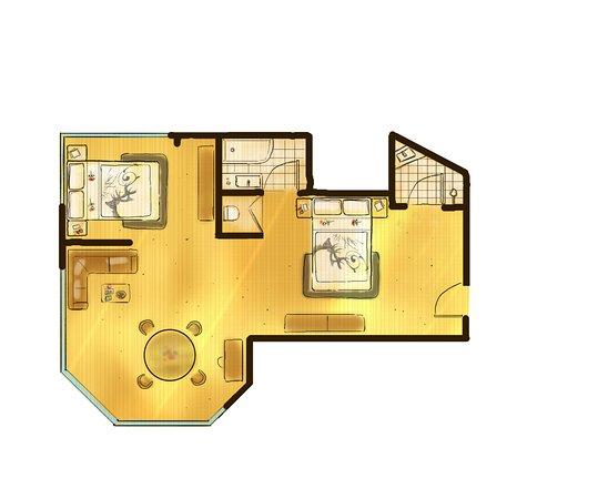 "Hotel Central: Zimmerskizze 2-Raum-Appartement ""Kaiser Max Suite"" ca. 60m²"
