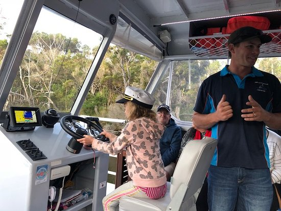 Denmark Rivermouth Cruise & Adventures: My 8 year old got to have a turn of steering the boat