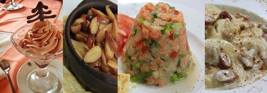 Malalcahuello, شيلي: Piñones al pil pil, Ceviche de salmon, Sorrentinos de Morchella