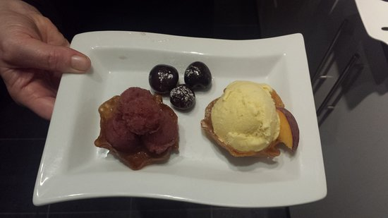 Not So Secret Suppers: Peach ice-cream, cherry sorbet, brandy snap