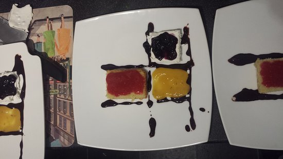 Not So Secret Suppers: Mondrian (meringue, chocolate, fruit puree, sponge)