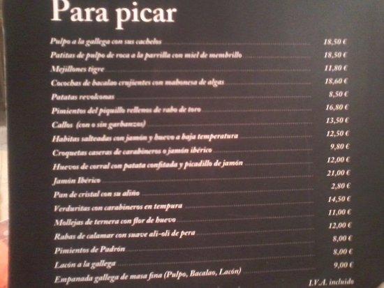Carta bar raciones picture of restaurante atrapallada - Restaurante atrapallada madrid ...