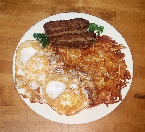 Aiken, SC: Egg plate with onion sausage and hashbrowns