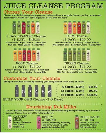 1, 2 or 3 Day Juice Cleanse Programs - Picture of Smoothie