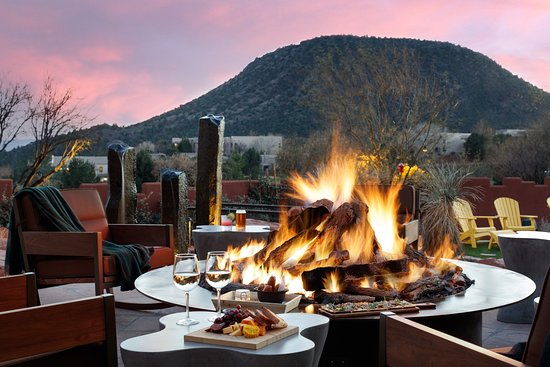Enjoy Cocktails and small bites by a fire and under the stars on the Porch.