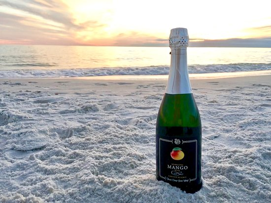 Panama City Beach Winery: Mango Sparkling - Florida wine made with 100% real mangoes.