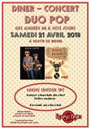 Les Rosiers sur Loire, France: Réservations ouvertes pour le diner-concert Pop des années 60 à nos jours avec le Duo BACK ELITE