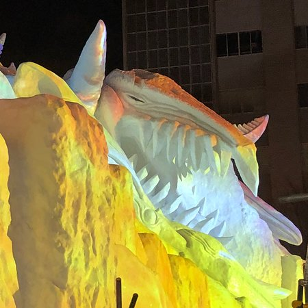 Beautiful and clever ice sculptures in Odori Park in Sapporo at the 2018 Snow Festival