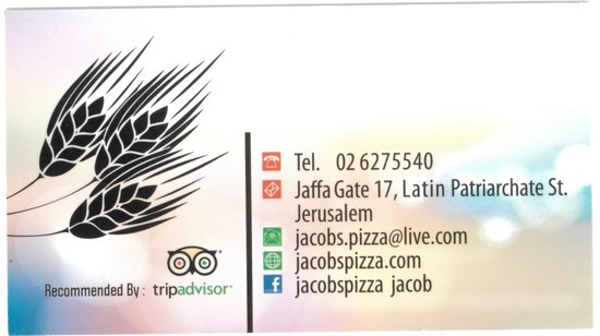 Jacob's Pizza: Their biz card
