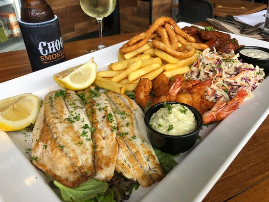 Choofas Smokehouse & Seafood: Another platter including grilled fish and wings