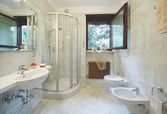 Bagno con doccia davanti alla finestra doccia in bagno lungo e