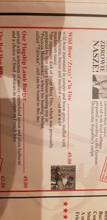 Restauracja Czerwony Wieprz: Extrait de la carte