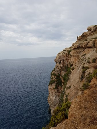 Hal Far, Malta: View of cliffs outside of cave