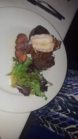 Opus 9 Steakhouse: Surf and turf (two small tenderloin medallions)