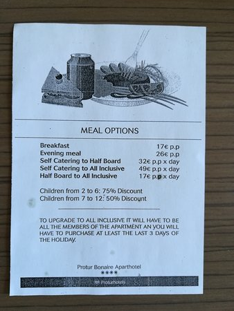 Protur Bonaire Aparthotel: March 2018 - Meal upgrade options