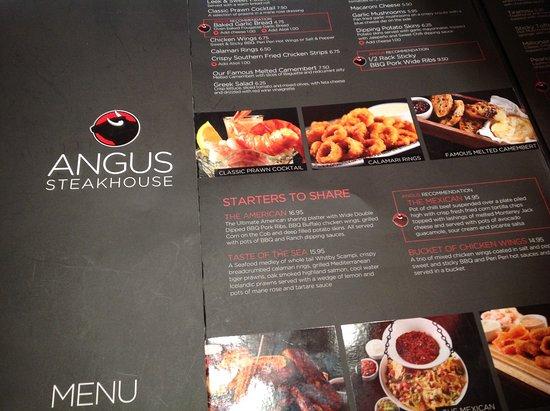 Angus Steakhouse: Menu