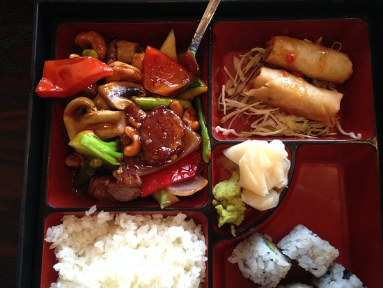 Woodbury, MN: Bento box, Beef with Cahews