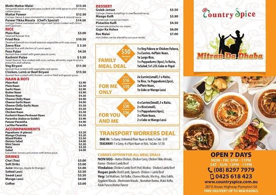 Plympton, Australia: Our Take away menu