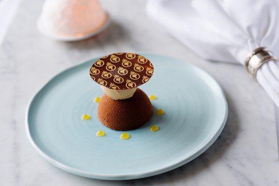 The Pompadour by Galvin: Valhrona Manjari & bergamot chocolate bomb, Earl Grey sorbet