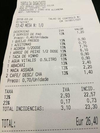 Alcanena, Portugal: A conta da nossa refeição (dois adultos)