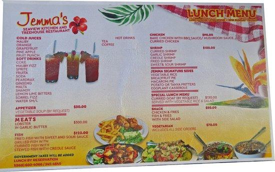 Speyside, Tobago: Jemma's menu
