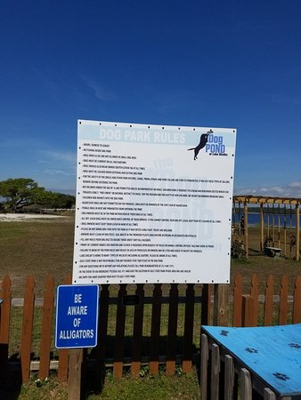 The Dog Park at Gulf State Park - Lake Shelby: The sign at the entrance