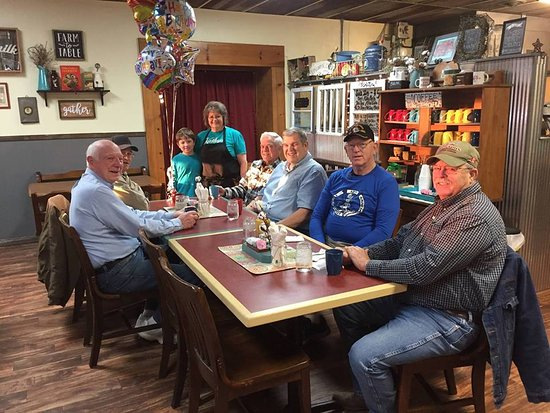 Melvern, KS: Celebrating Kathy's birthday March 2, 2018 with grandson and coffee gang!