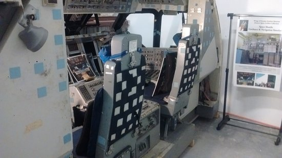 Starke, FL: Space Shuttle Flight Simulator, CMD and PLT seats looking Toward Flight Controls