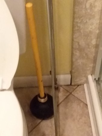Filthy plunger on floor, rusty metal over the toilet shelving unit ...