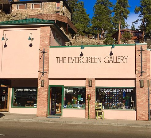 The exterior of The Evergreen Gallery on historic Main Street, Evergreen, Colorado.