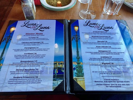 Luna Bella Restaurant Menu