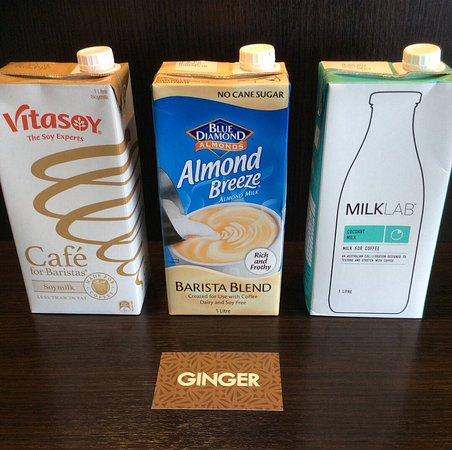 Richmond, Nueva Zelanda: Milk alternatives-soy -almond -coconut