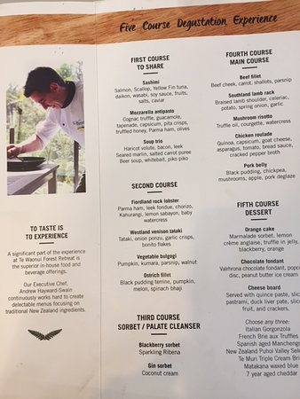 The Canopy Restaurant part of menu & part of menu - Picture of The Canopy Restaurant Franz Josef ...