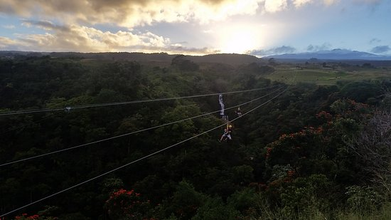 Hakalau, HI: Sunset zipline over paradise!