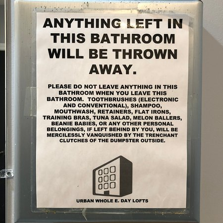 Urban Holiday Lofts: Funny sign in bathroom