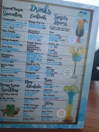 Sky Bar Drink Menu Picture Of Amber Cove Puerto Plata Tripadvisor
