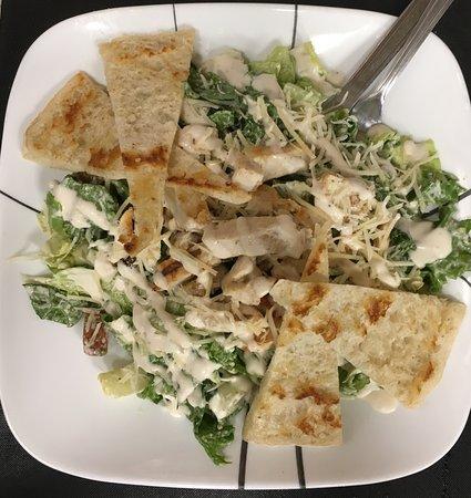 Fryeburg, ME: Chicken Caesar Salad with grilled Pita Bread