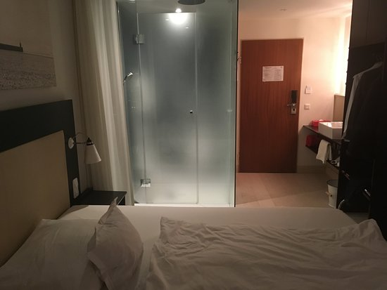 Sankt Michaelisdonn, Niemcy: Note the design features of a sink next to the door and a glass shower cubicle next the bed!