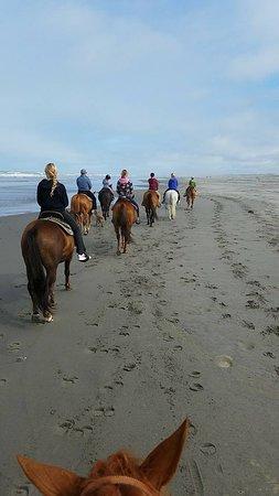 Long Beach, WA: Group heading down the beach