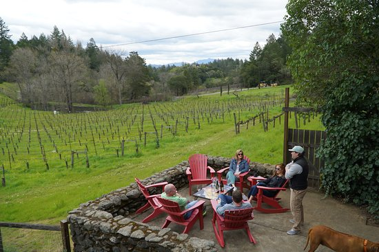 Cloverdale, CA: Kieran Robinson (and the winery he shares to make his wines) and us relaxing and tasting.