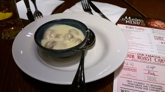 Toby Carvery - Speke Boulevard: The Creamy Mushroom starter - complete with serving spoon
